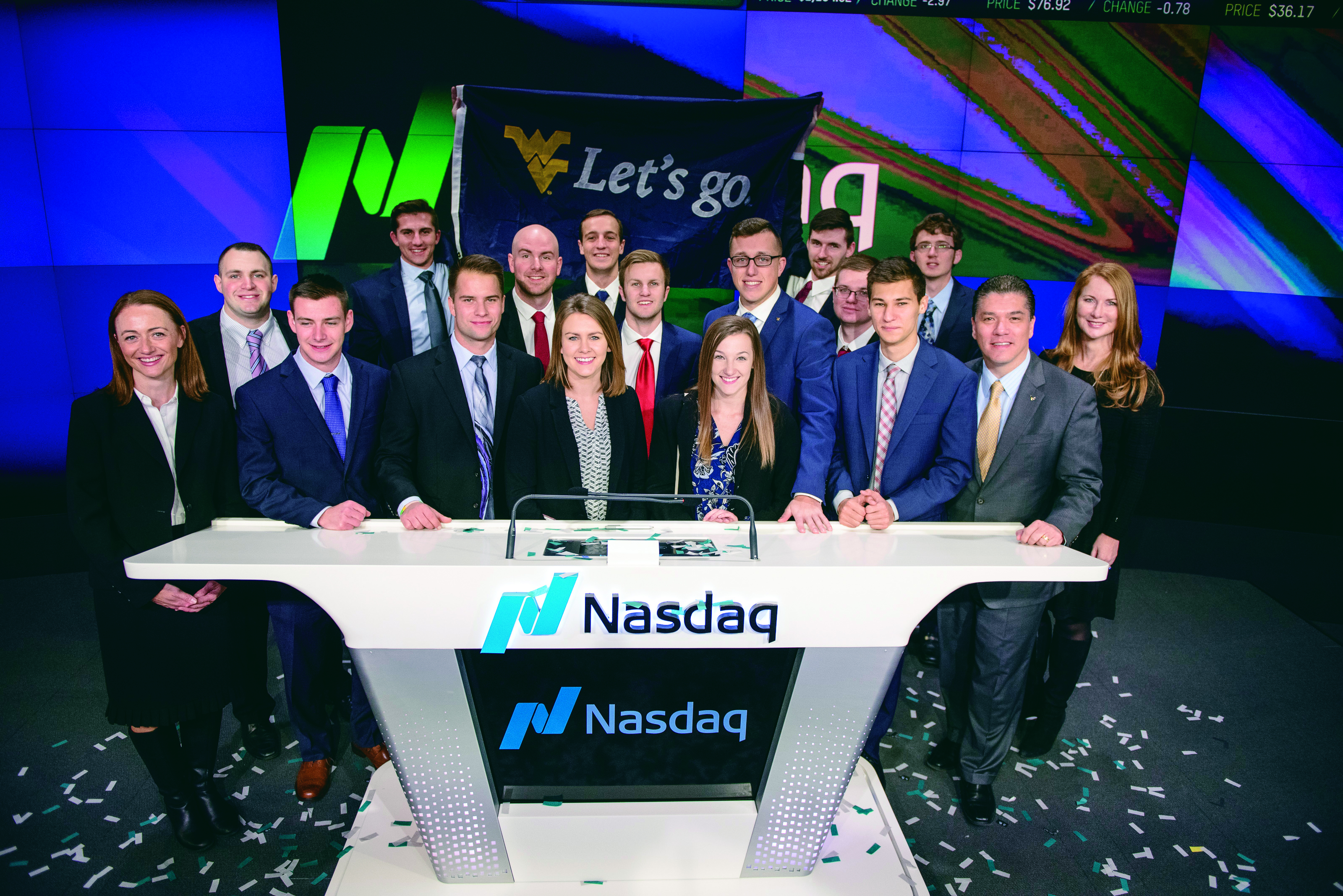 Students from B&E at the Nasdaq desk