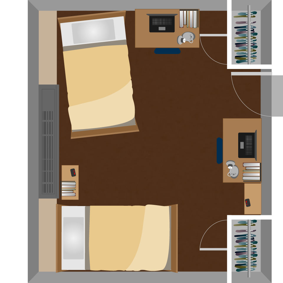 Two Room Double Dorm Layout