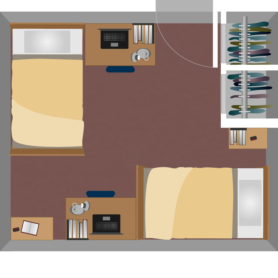 Double dorm room layouts - View Boreman South Double Room Layout